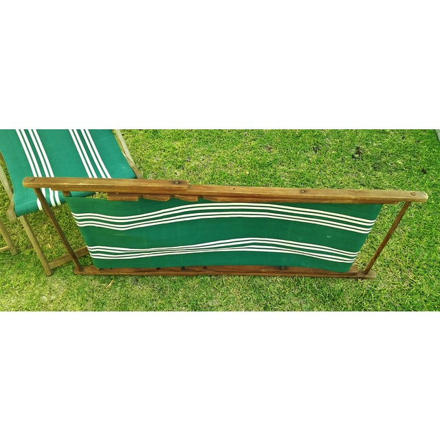 Vintage Wood & Canvas Folding Beach Deck Chair For Sale - Image 7 of 7