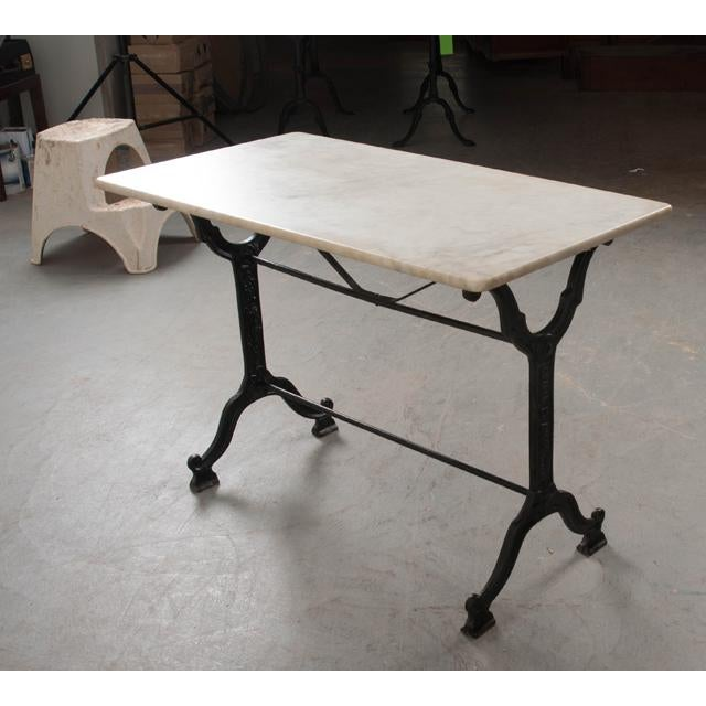 French Early 20th Century Marble Top Garden Table For Sale - Image 10 of 11