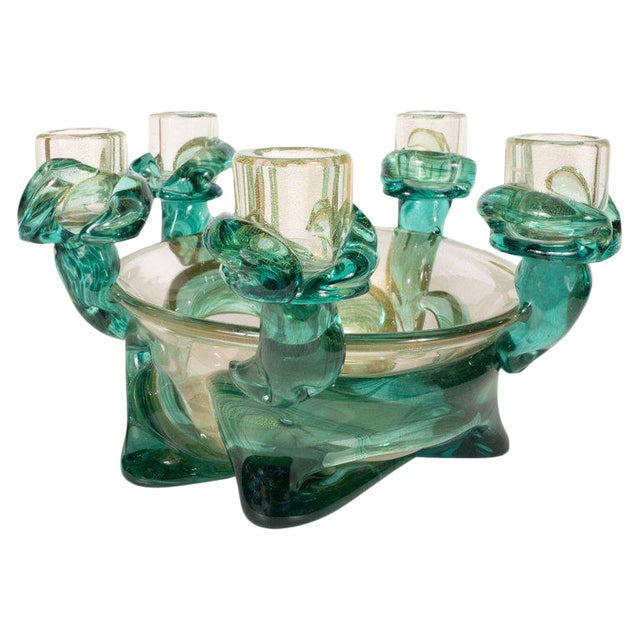 Mid-Century Modern Handblown Murano Glass Centerpiece Bowl With Gold Flecks For Sale
