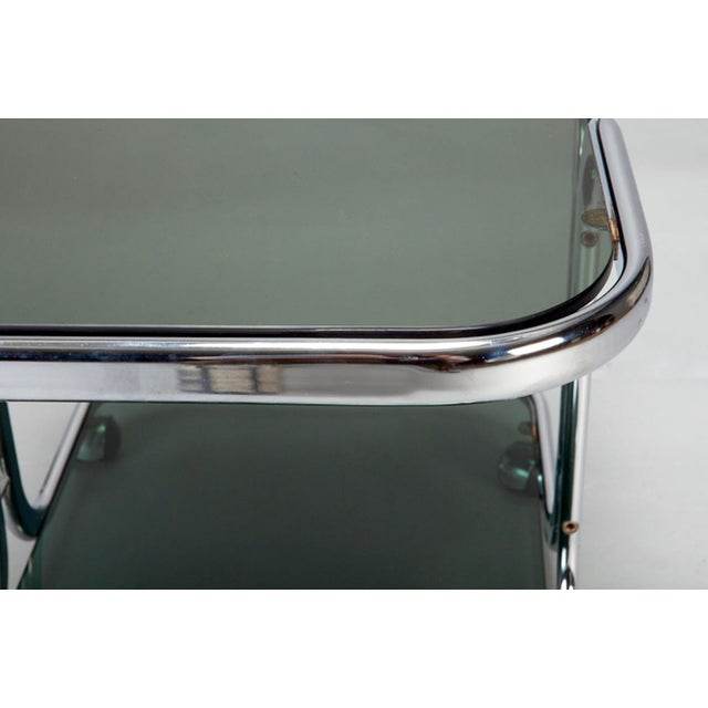 Mid-Century Italian Black Glass Chrome Bar Cart, Serving Trolley For Sale - Image 5 of 6