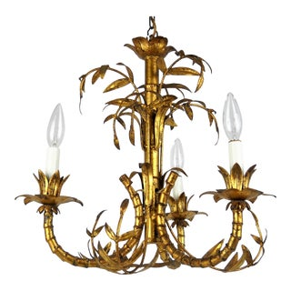Chinoiserie Gilt Bamboo Chandelier For Sale