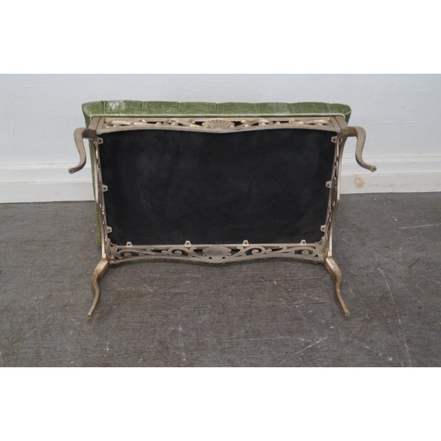 French Louis XV Gilt Metal Tufted Benches - Pair For Sale - Image 9 of 10