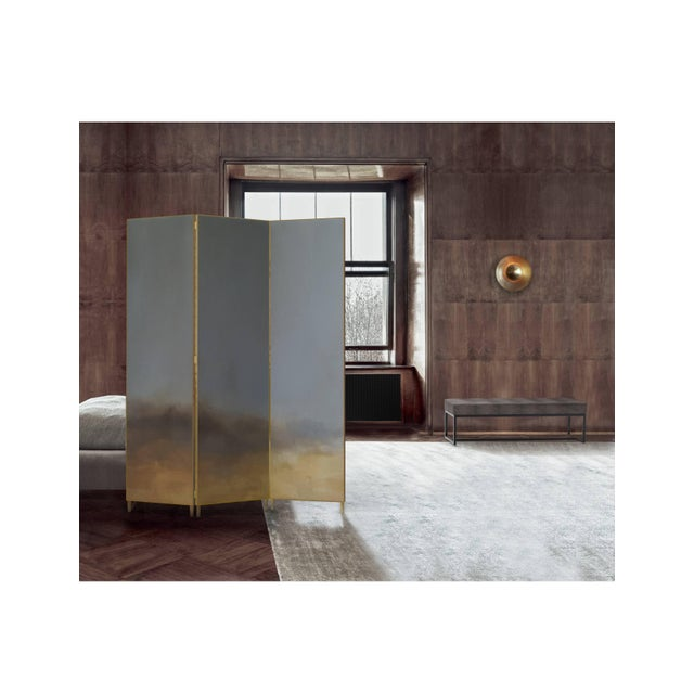 Hand-painted cloth in a full brass frame. It is delicate and beautiful solution to divide the space. Each screen is...
