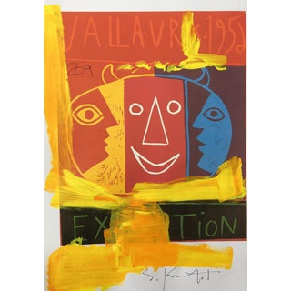 Abstract Framed Picasso Poster Painting by Sean Kratzert 'Yellow Face' For Sale