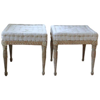 18th Century Swedish Gustavian Foot Stools / Benches in Original Paint - a Pair For Sale