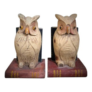 19th Century American Hand Carved and Painted Folk Art Owl Bookends - a Pair For Sale