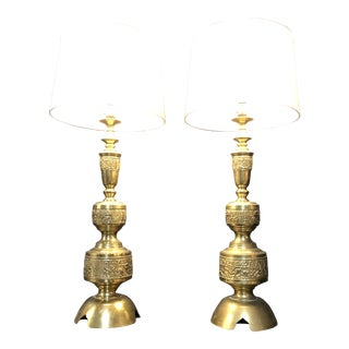 Pair of Chinoiserie Brass Table Lamps in the Style of James Mont For Sale