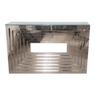 Geometric Motif Chrome Console Table For Sale