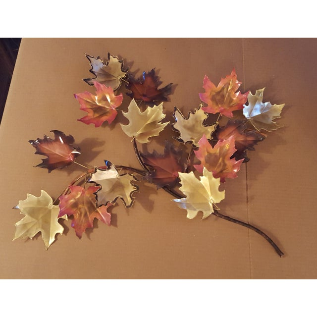 1970s Mid-Century Modern Copper and Brass Metal Welded Leaf Wall Art For Sale In Saint Louis - Image 6 of 6
