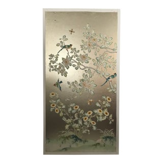 Chinoiserie Handpainted Wallpaper Panel, Silver Metal Leaf With Parrot Motif For Sale