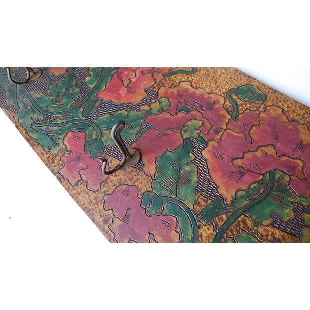1920s Art Nouveau Hand-Carved and Painted Wood Coat Rack For Sale - Image 5 of 8