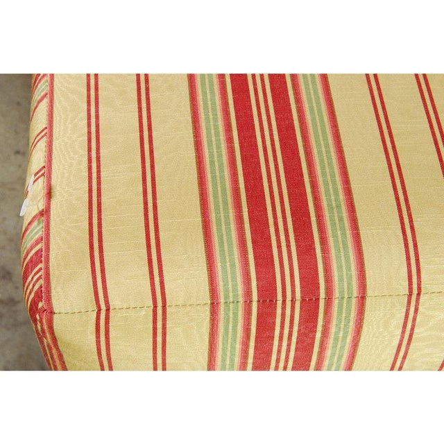 1970s Pair of Yellow, Red, and Green Stripe Custom Upholstered Benches For Sale - Image 5 of 7