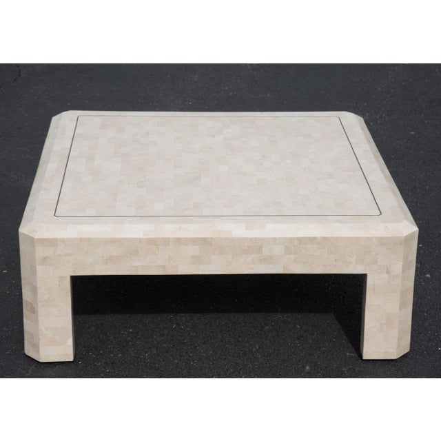 Hollywood Regency 1980s Hollywood Regency Maitland Smith Ivory Stone Coffee Table For Sale - Image 3 of 7