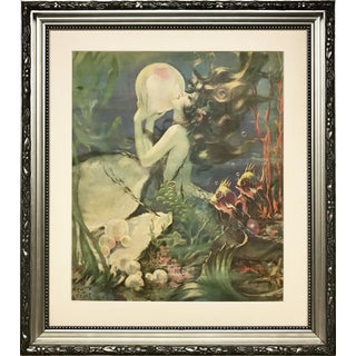 Antique Print of Mermaid and Giant Pearl by Henry Clive C. 1939 For Sale