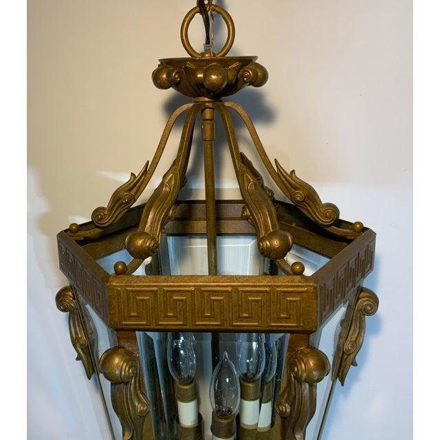 Vintage Six Sided Indoor Hanging Lantern Chandelier For Sale - Image 9 of 13