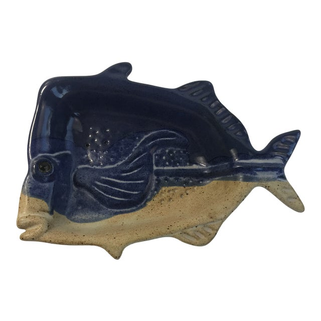 Stoneware Fish Bowl Candy Dish For Sale
