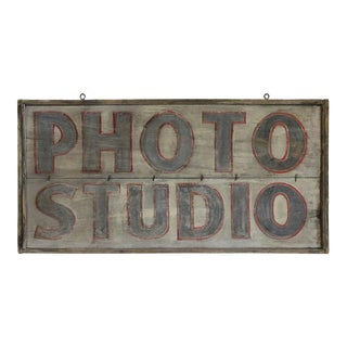 """Photo Studio"" Antique Hand Painted Sign"