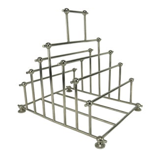 1970s Art Deco Inspired Architectural Chrome Magazine Holder/Rack For Sale