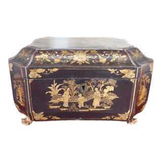 Early 19th Century Antique Chinese Japanned Black Lacquer Tea Caddy