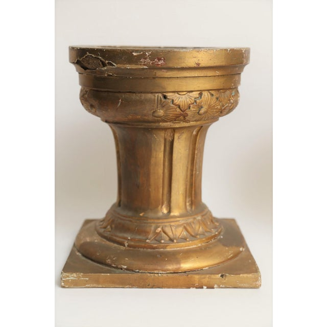 French 19th-Century French Altar Giltwood & Gesso Candle Stands - A Pair For Sale - Image 3 of 8