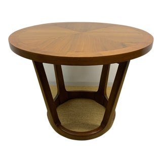 The Perfect Little Mid Century Walnut Lane Round Side Table With Sculpted Base For Sale