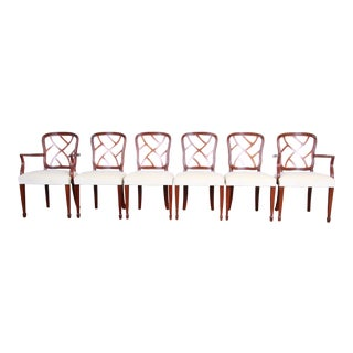 Kindel Furniture Carved Mahogany Formal Dining Chairs, Set of Six For Sale