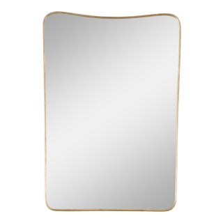 Brass Framed Wall Mirror in the Style of Gio Ponti For Sale