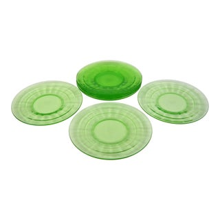1930s Green Glass Dessert Plates - Set of 7 For Sale