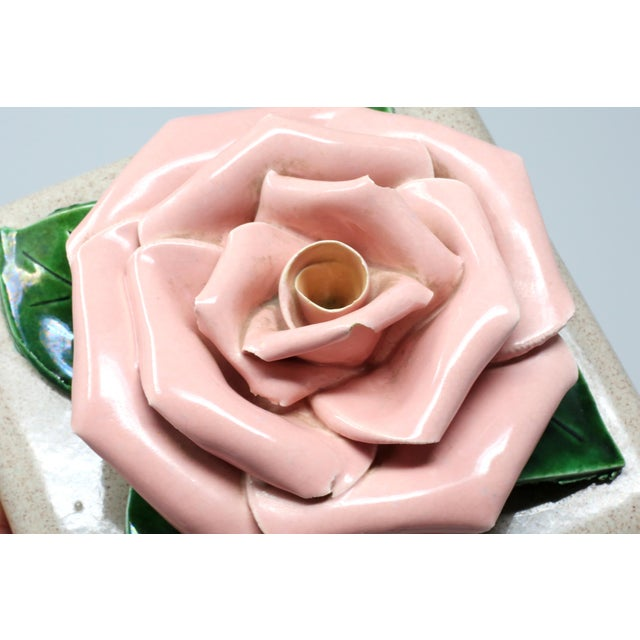 Figurative Gorgeous 1971 Chanel Inspired Camellia Ceramic Square Lidded Dish For Sale - Image 3 of 11