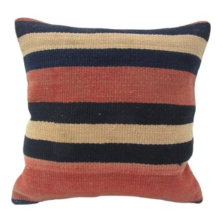Vintage Handmade Black and Beige Striped Turkish Kilim Pillow Cover For Sale