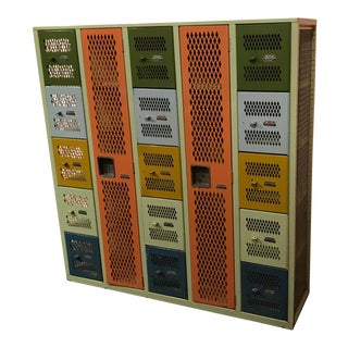 1950s Industrial Mesh Steel Multicolor Lockers Set For Sale