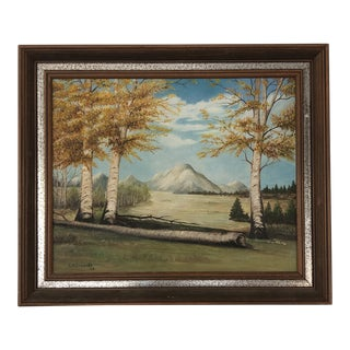 1964 Vintage Mountain Painting For Sale