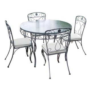 Vintage Mid Century Wrought Metal Patio Table & Chairs - Set of 5