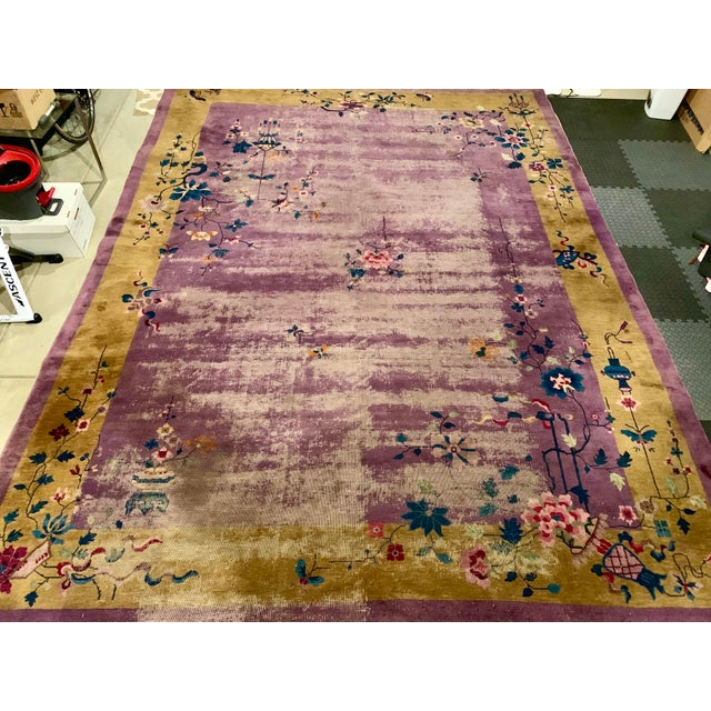 1930s Chinese Art Deco Room Size Rug - 10′2″ × 13′5″ For Sale - Image 5 of 7