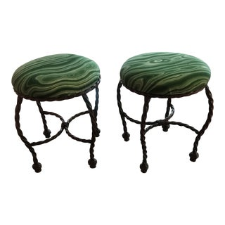 1980s Vintage Malachite Fabric Covered Stools- A Pair For Sale