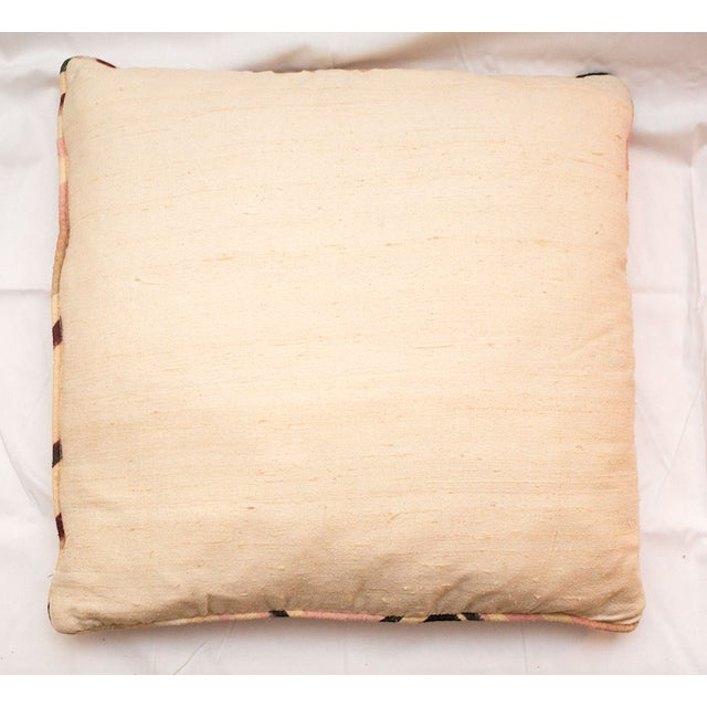 Traditional Vintage Pink Raw Silk Marbled Pillow For Sale - Image 3 of 4