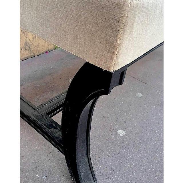 Maison Jansen Maison Jansen Chicest Black Neoclassic Long Bench Newly Covered in Velvet For Sale - Image 4 of 5