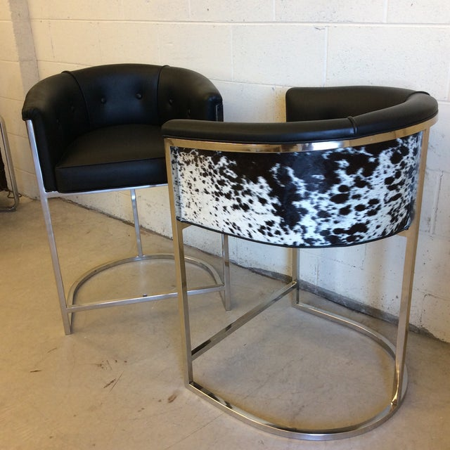 Kitchen Bar Stools For Sale In Ireland: Vintage Arteriors Black & White Cow Hide Calvin Counter