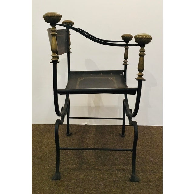 Antique Iron and Leather Campaign Chair For Sale In Atlanta - Image 6 of 8