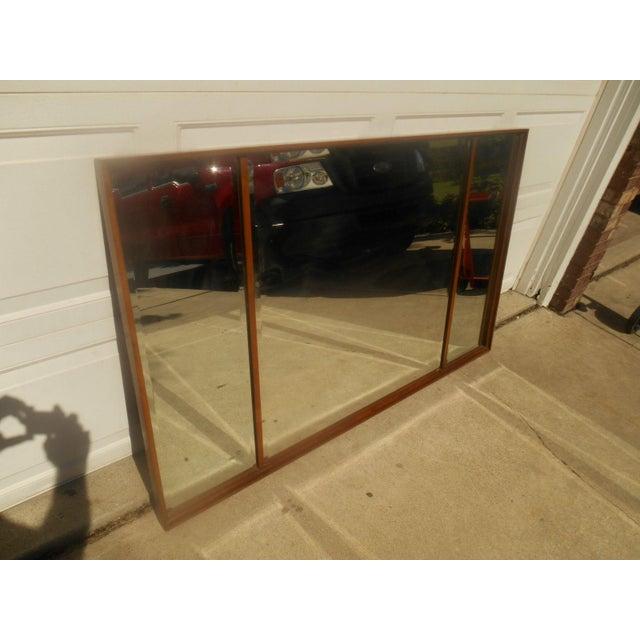 Mid-Century Modern Triple Beveled Dresser Mirror - Image 3 of 5