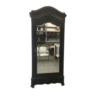 Antique French Ebonized Mirror Armoire