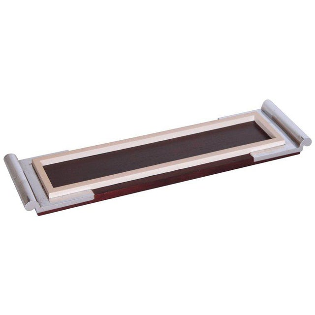 Art Deco Machine Age Asprey Drinks Tray in Mahogany/Ivory Lacquer/Chrome For Sale - Image 11 of 11