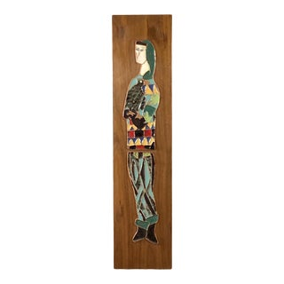 Mid Century Modern Enameled Artwork on Walnut Panel by Harris Strong For Sale
