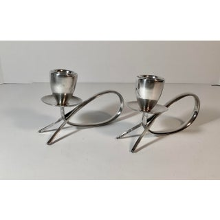 1970s Mid Century Danish Modern Sterling Silver Fabian Mexico Candle Holders - a Pair Preview