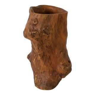 Vintage Brutalist Art Wood Vase . For Sale