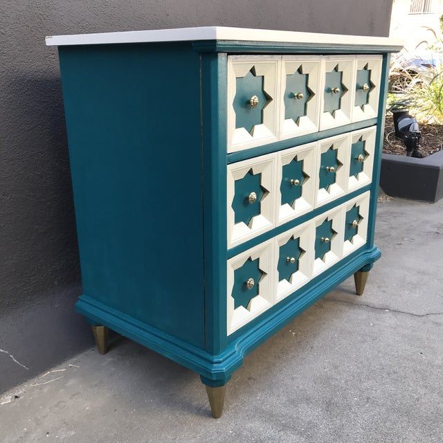 Moroccan Star MCM Painted Chest For Sale In Los Angeles - Image 6 of 8