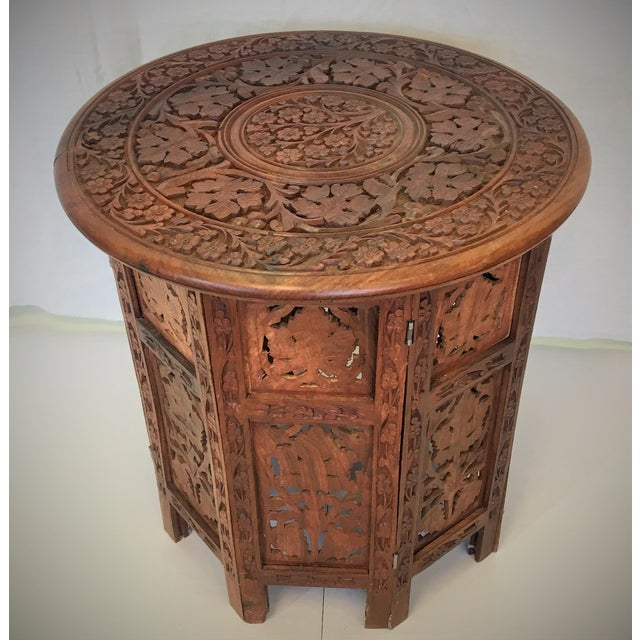 Anglo-Indian Hand Carved Anglo-Indian Folding Tables - A Pair For Sale - Image 3 of 5