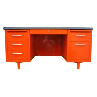 Vintage Steel Tanker Desk in Orange