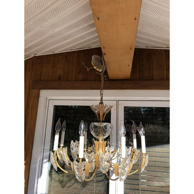 Mid-Century Modern Vintage Mid-Century Modern Palwa Germany Brutalist 24k Gold Plated Chandelier For Sale - Image 3 of 13