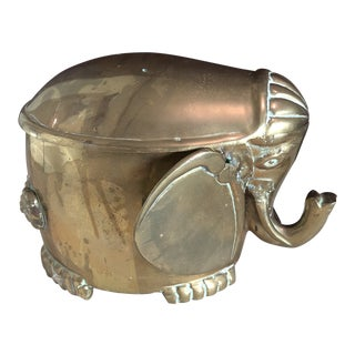 Mid-Century Modern Brass Elephant Box With Lid For Sale